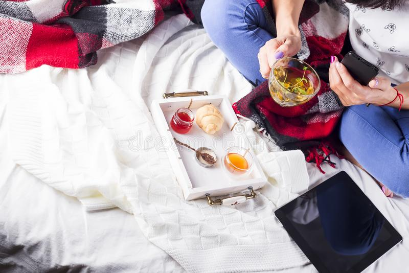 Tea in tray with woman stock photography
