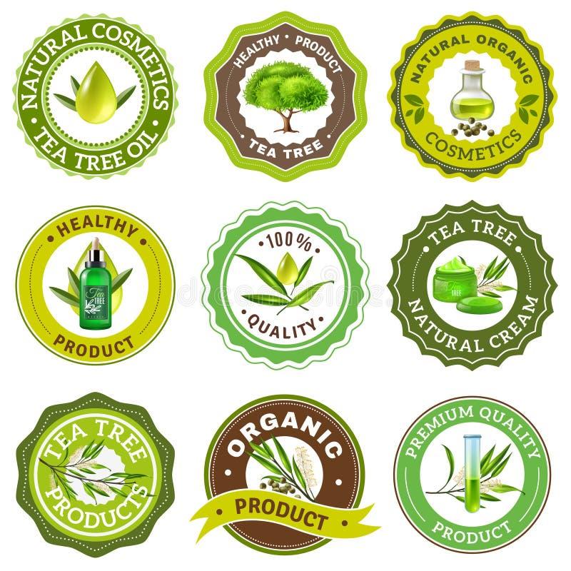 Tea Tree Emblem Set. Organic high quality tea tree products emblem logo packaging set isolated on white background realistic vector illustration stock illustration