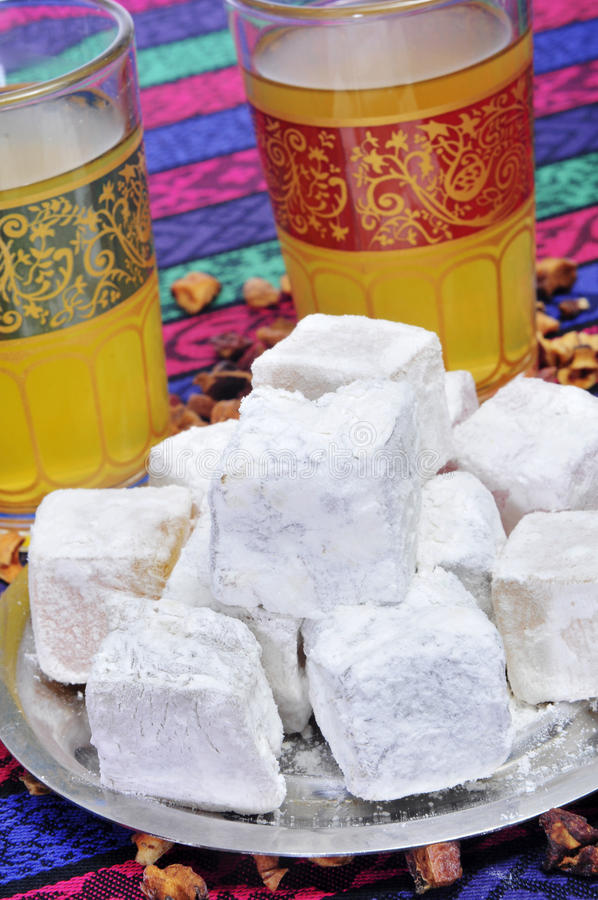 Download Tea and turkish delight stock image. Image of nutritious - 26334281