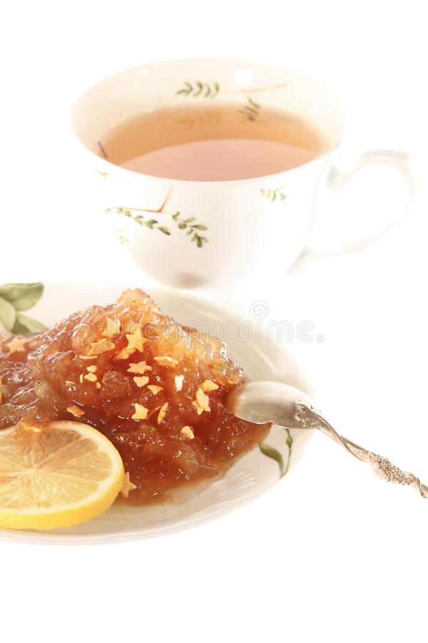 Free Tea With Apple Jam Isolated High Angle Stock Image - 27478791