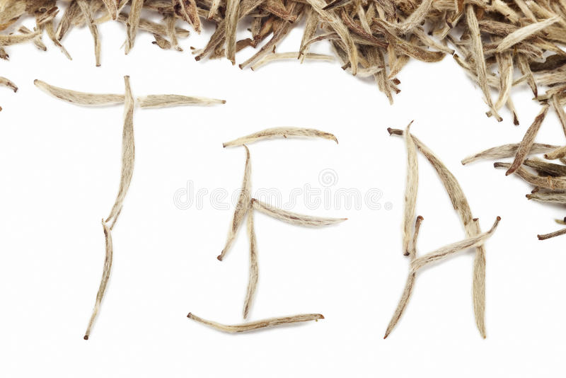 Tea word from white buds royalty free stock photography