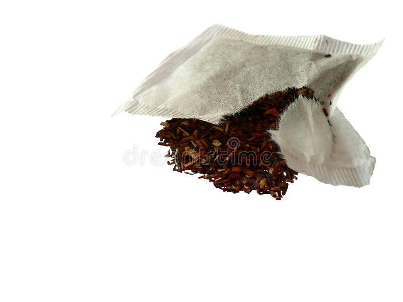 Teabag quebrado isolado imagem de stock