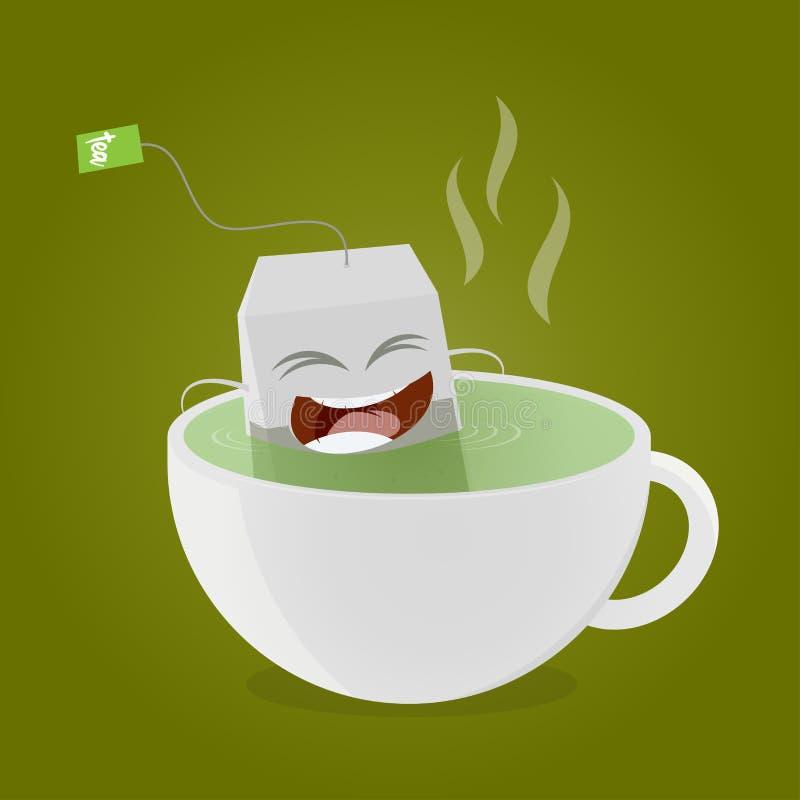 Teabag som tar ett bad i kopp te stock illustrationer