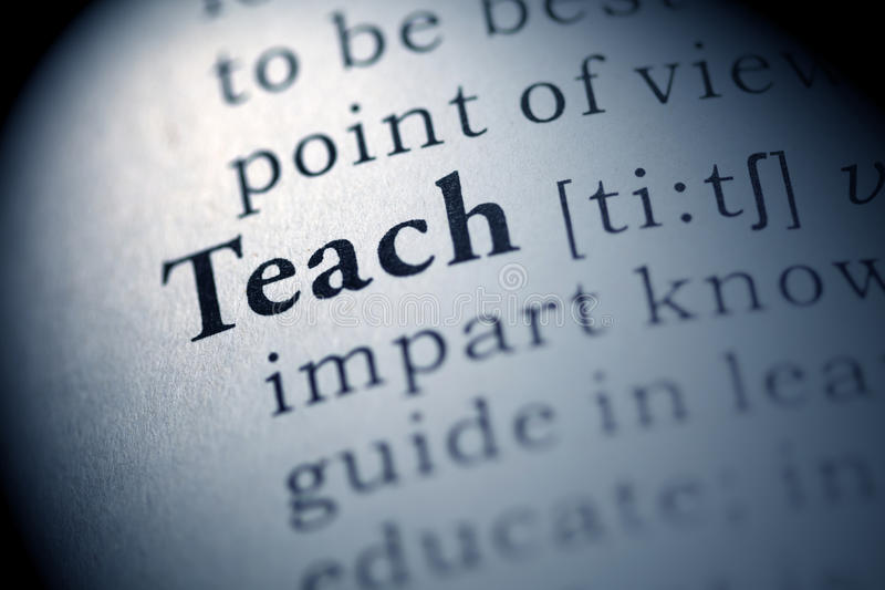 Teach. Fake Dictionary, Dictionary definition of the word Teach. including key descriptive words royalty free stock image