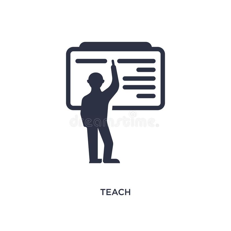 teach icon on white background. Simple element illustration from education concept vector illustration