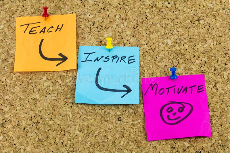 Teach inspire motivate inspiration. Teach inspire motivate motivation sticky notes postit push pins help education teaching learning message royalty free stock photo