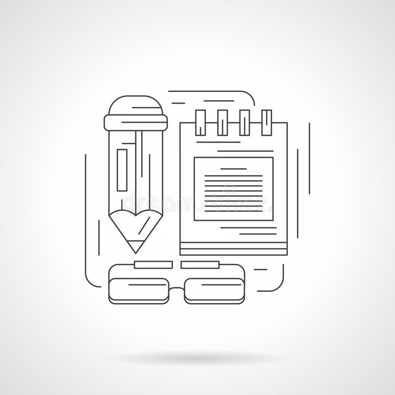 Teacher accessories detailed line icon royalty free illustration