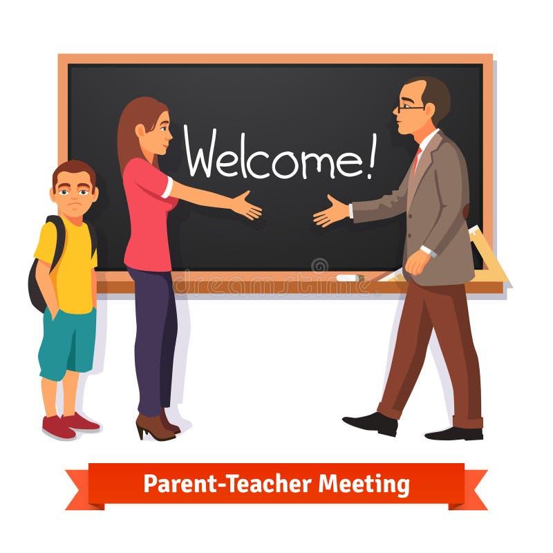 Free Teacher And Parent Meeting In Classroom Stock Photos - 66463283