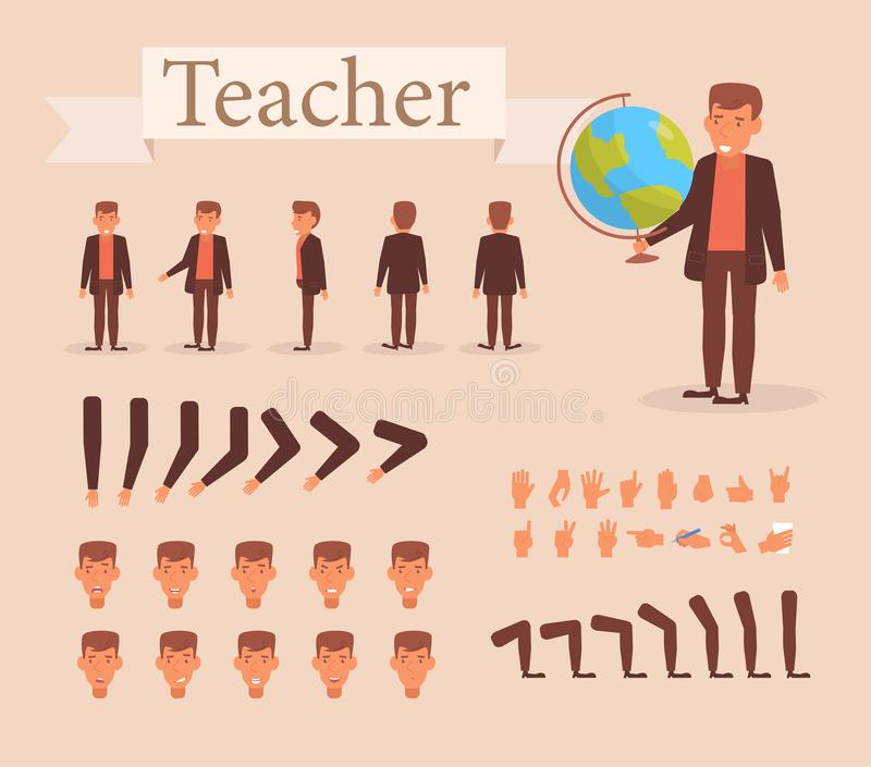 Teacher for animation. Poses front, rear, side, three quarter. Creation set. Collection of emotions. Vector. Cartoon vector illustration