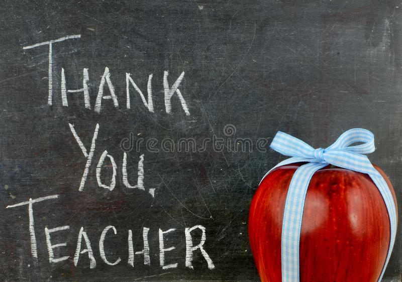 Teacher appreciation image of a red apple tied up with a cute blue ribbon. Teacher appreciation image of a red apple tied up with a cute blue ribbon in front of royalty free stock images