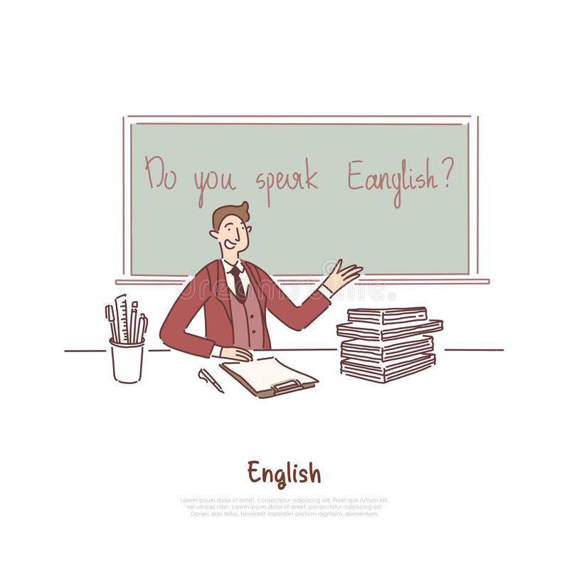Teacher asking question, do you speak english, foreign job interview, education abroad, language course banner stock illustration