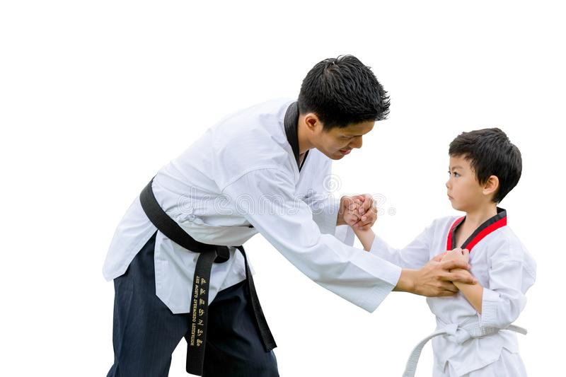 Teacher Black belt Taekwondo Fighter Kid Punch Guard Stand. For Flight isolated on white background with clipping path royalty free stock images