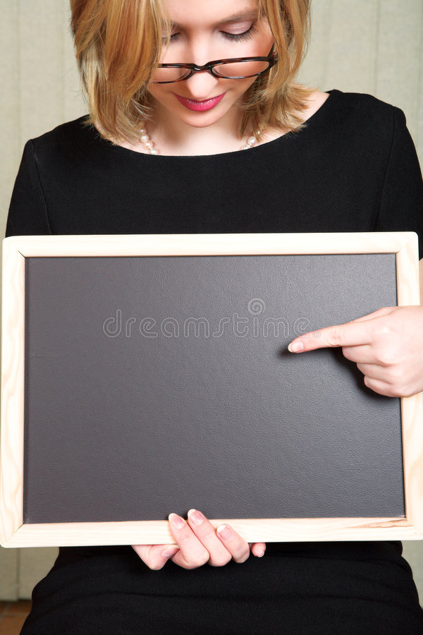 Teacher with blackboard royalty free stock image