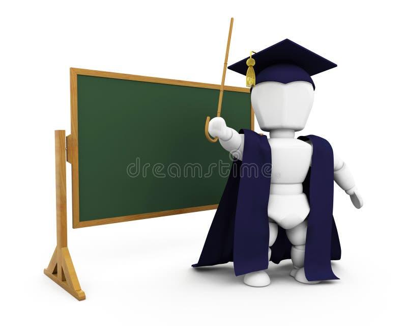 Teacher by blackboard stock illustration