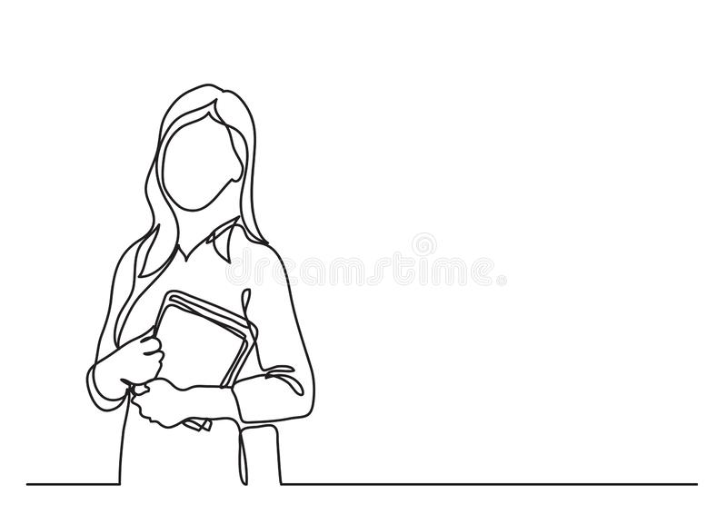 Teacher with books - continuous line drawing vector illustration