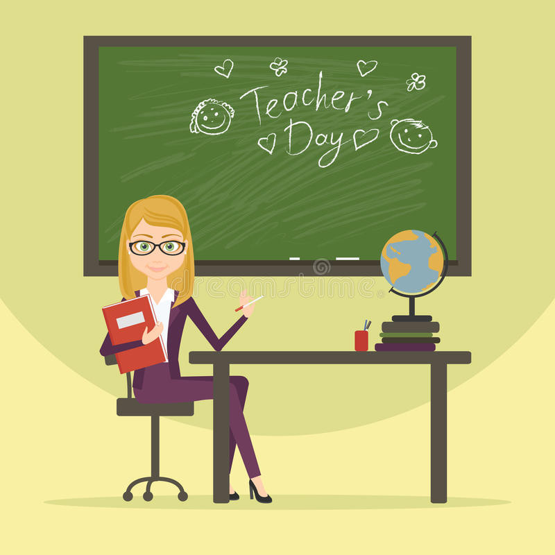 Teacher character cartoon vector flat style illustration. A woman working in the field of education. The educator in the. Classroom, on the blackboard was stock illustration