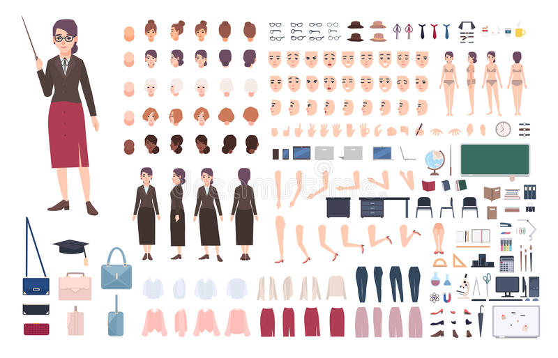 Teacher character constructor. Female lecturer creation set. royalty free illustration
