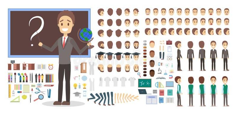 Teacher character in uniform set for animation. stock illustration