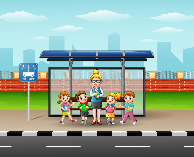 Teacher and children in a bus stop vector illustration