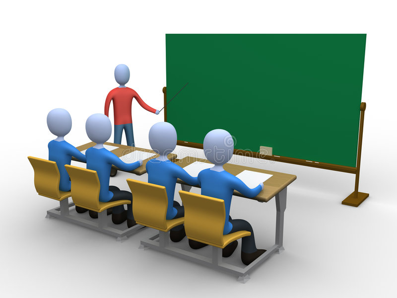 Teacher in Classroom. 3d person teaching a class. Blackboard is empty for you to add whatever you like