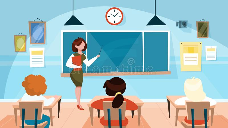 Teacher in the classroom standing at the blackboard vector illustration