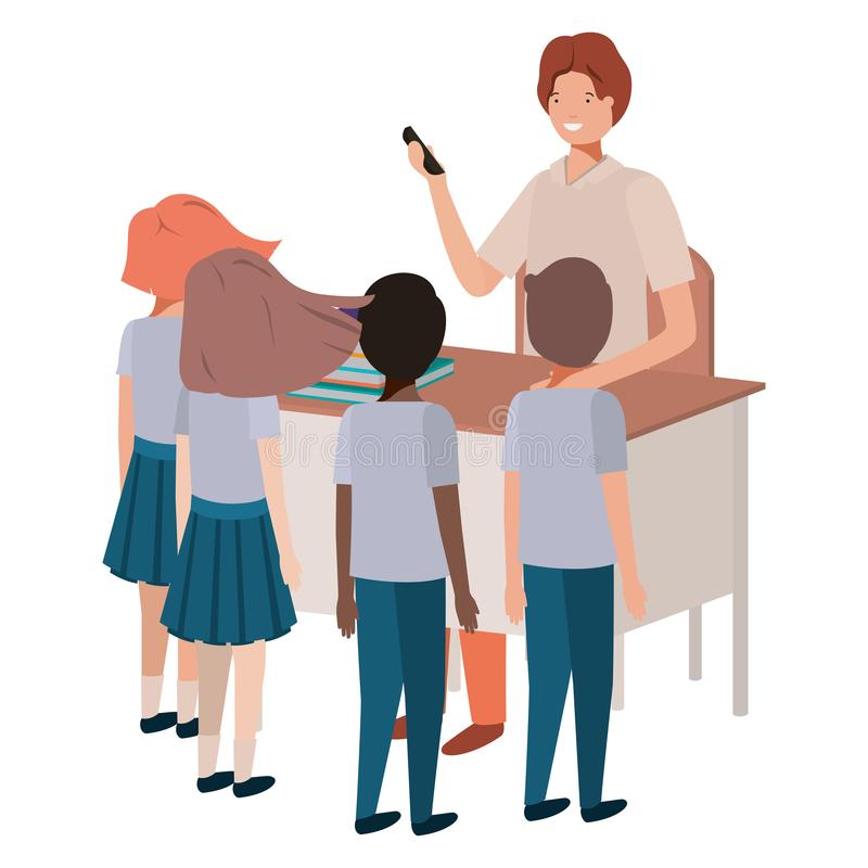 Teacher in the classroom with students. Vector illustration design royalty free illustration