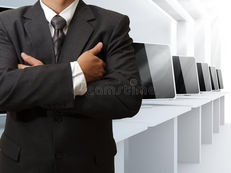Teacher and computer class room. And success stock photos