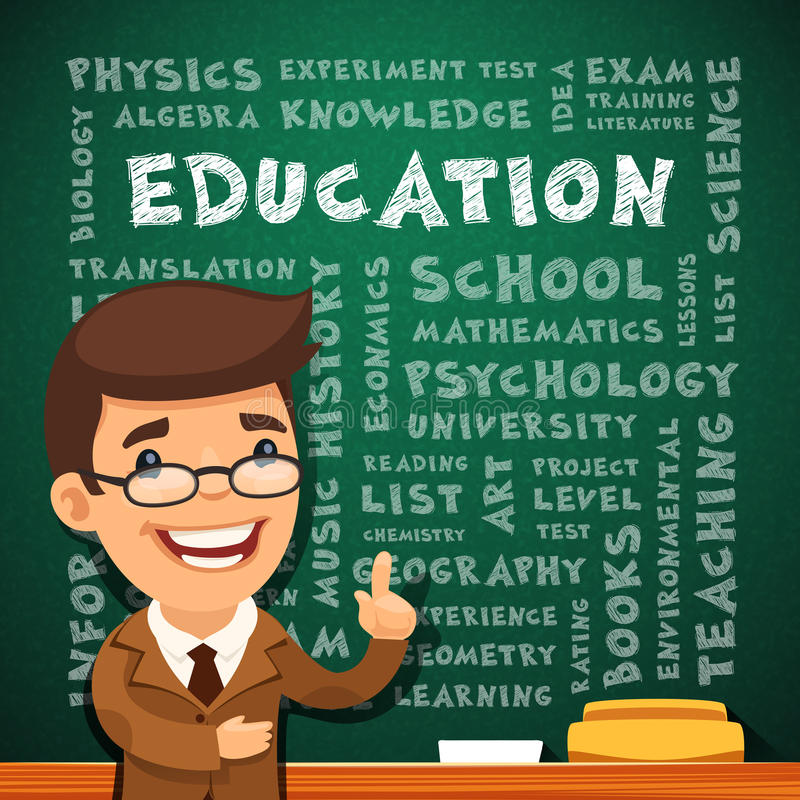 Teacher With Education Poster on Blackboard royalty free illustration