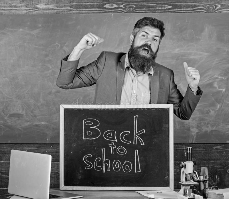 Teacher or educator welcomes inscription back to school. Teacher educator welcomes new enrollees to begin study and get. Education. Welcome back to school. Full royalty free stock photography