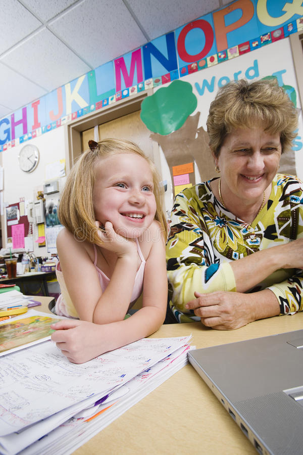 Teacher With Elementary Student royalty free stock images