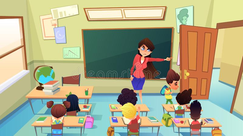 Teacher Excluding Pupil from Class Cartoon Vector. Angry, Annoyed Female Teacher Excluding Guilty Sad Boy from Classroom Cartoon Vector. Pupil Bad Behavior and vector illustration