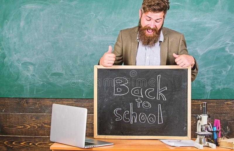 Teacher experienced educator welcomes new enrollees to begin study and get education. Never late to study. Teacher or. Educator welcomes inscription back to royalty free stock photos