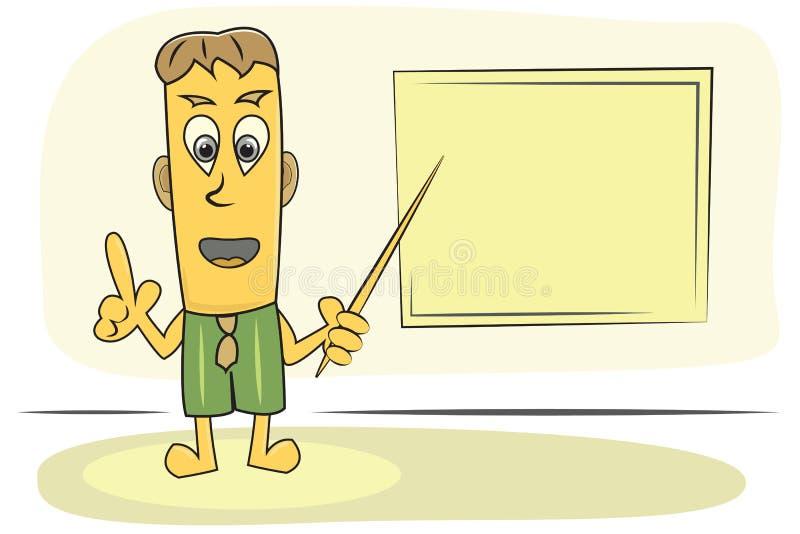 Teacher explain lesson. Cartoon Character Teacher explain topic with pointer and school board, vector image royalty free illustration