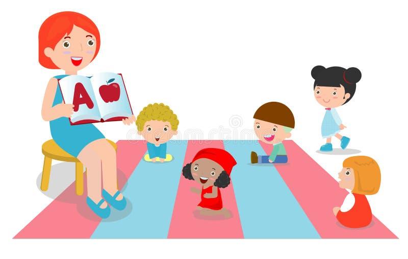 Teacher explaining alphabet to children around her, teacher reading books for kids in the kindergarten. Group of preschool kids and teacher sitting in a vector illustration