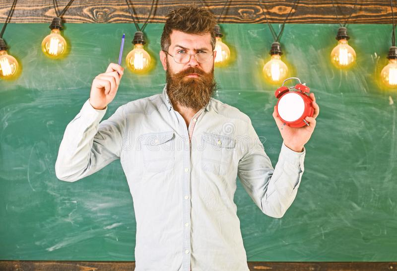 Teacher in eyeglasses holds alarm clock and pen. Discipline concept. Bearded hipster holds clock, chalkboard on. Background. Man with beard and mustache on stock images