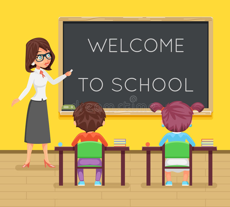 Teacher female study pupil student sit class table desk education lesson child character icon classroom school board. Teacher female study pupil student sit stock illustration