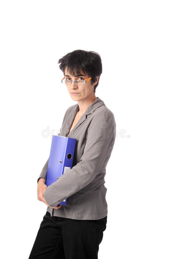 Teacher With Files In Her Arms Royalty Free Stock Photo
