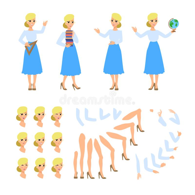 Teacher flat cadtoon character. Set of fun vector cartoon person. Isolated on white background. vector illustration