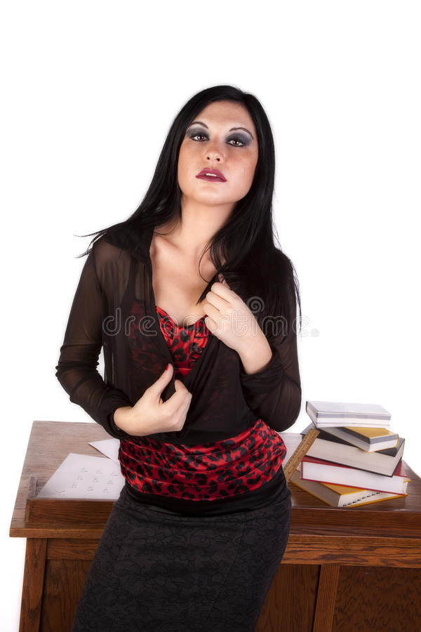 Download Teacher In Front Of Desk Stock Images - Image: 17042334