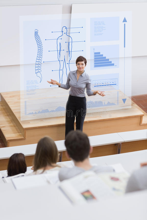 Teacher in front of futuristic interface asking a question. To students stock illustration