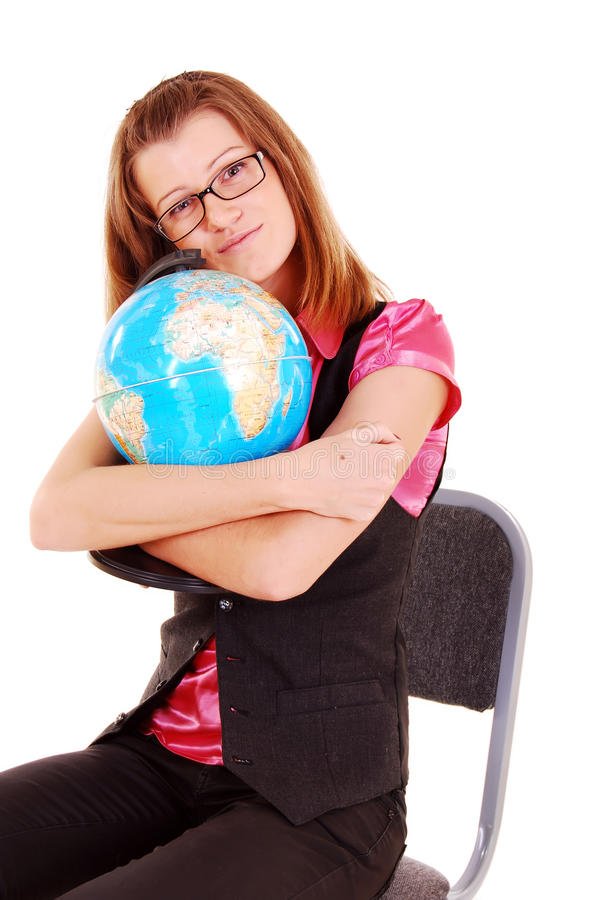 Download The Teacher Of Geography With The Globe. Stock Photography - Image: 16281032