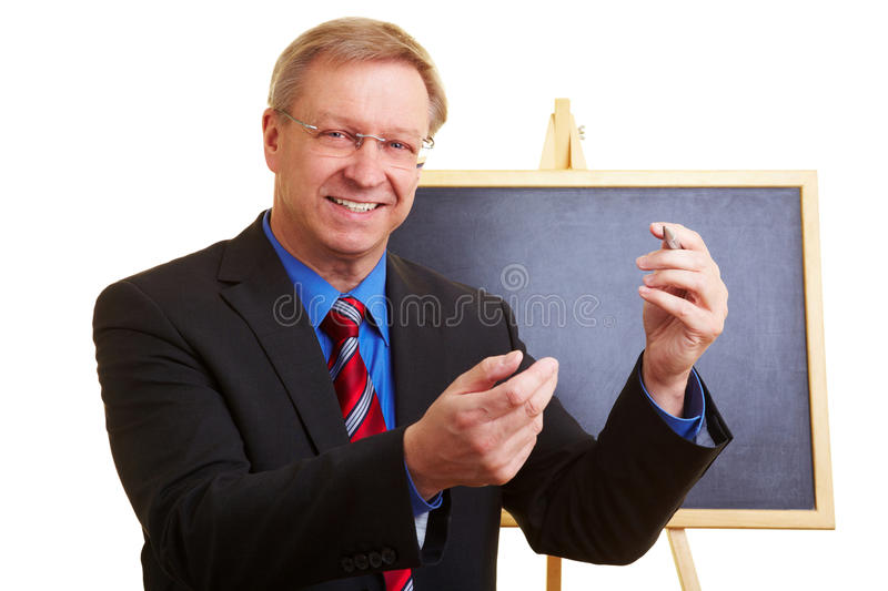 Teacher giving a lecture royalty free stock photo