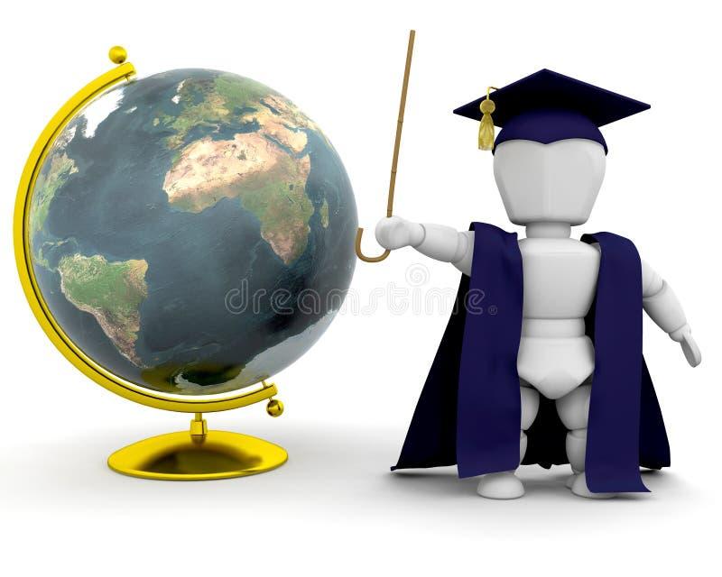 Teacher with globe royalty free illustration