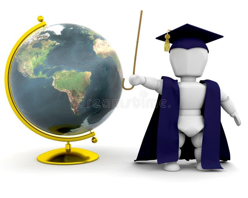 Teacher with globe stock illustration