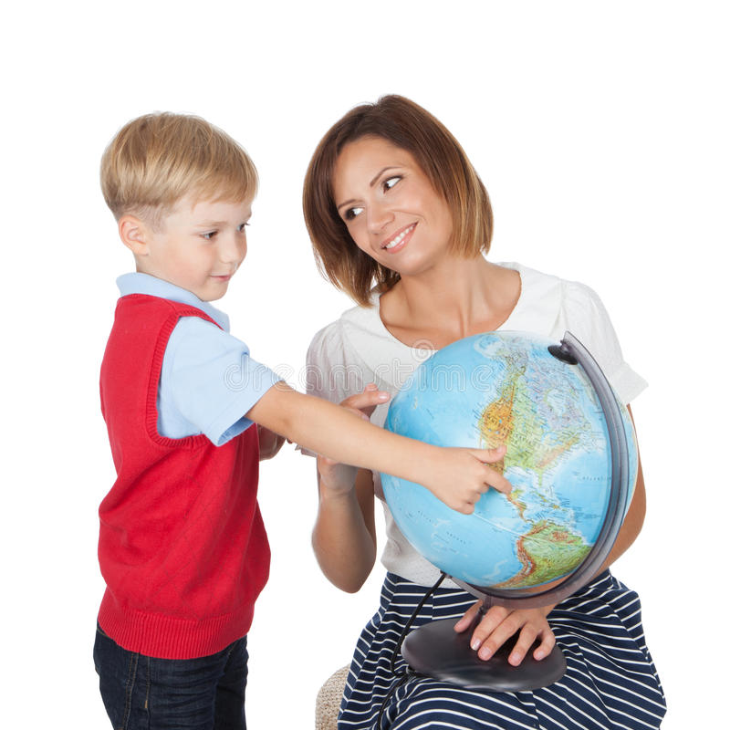 Teacher helping elementary student royalty free stock images
