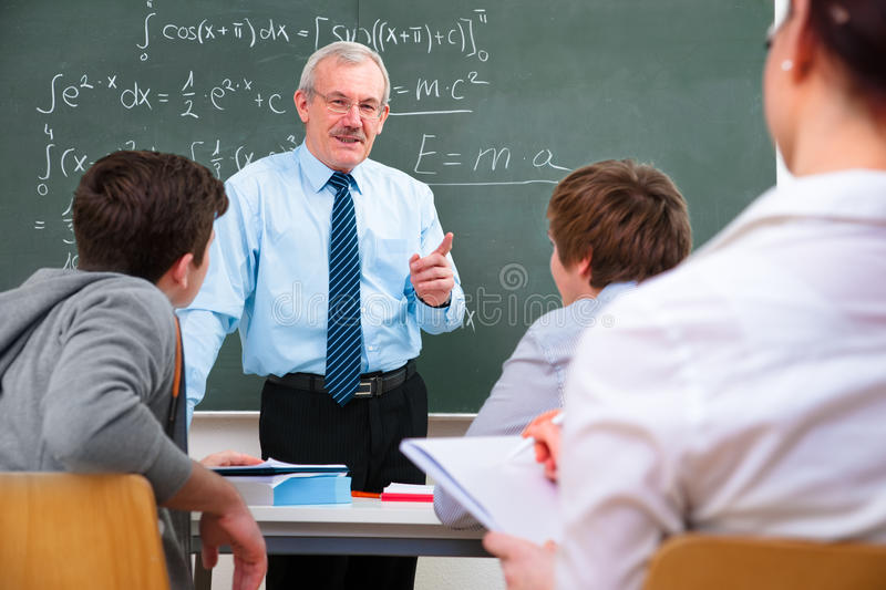Teacher with high school students royalty free stock photo