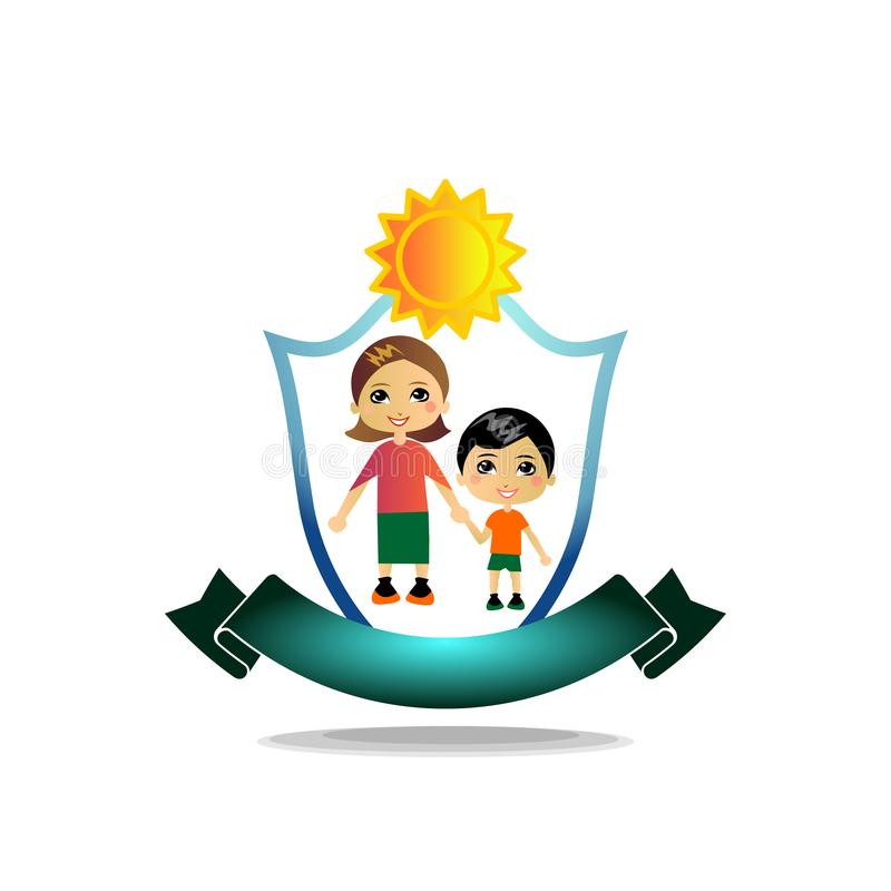 The teacher holds the disciple`s hand. Vector logo, illustration with high detail. stock illustration