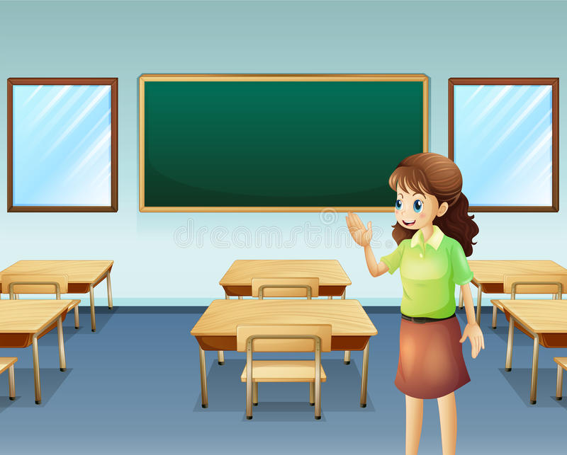A teacher inside the empty classroom vector illustration