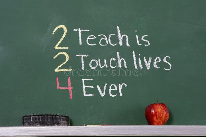 Teacher inspirational phrase on chalkboard royalty free stock photos