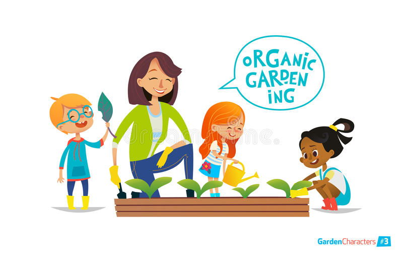 Teacher and kids engaged in gardening in the backyard. Cute girls and boys help their teacher to care for plants. Teacher and kids engaged in gardening in the royalty free illustration
